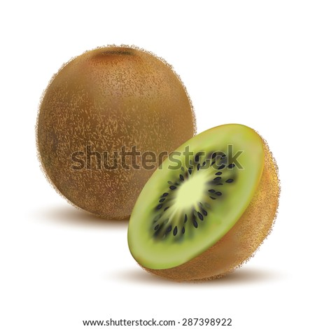 closeup kiwi and kiwi slices on a white background