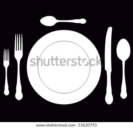closeup of a place setting with dinner-plate in vector format - stock vector