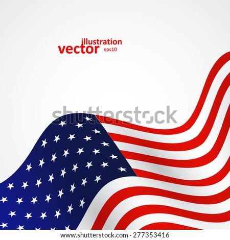 Closeup of American flag on white background, vector illustration eps10 - stock vector