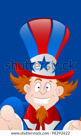 Closeup of Happy Uncle Sam - stock vector