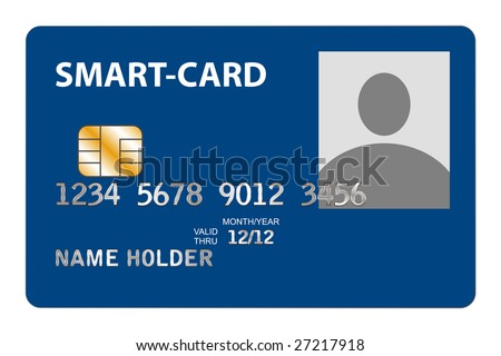 Closeup of Smart-Card with Microchip - stock vector