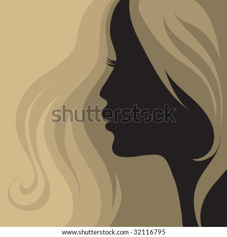 Closeup vintage woman with beautiful hair - stock vector