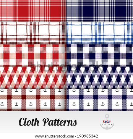 Cloth Pattern Set ( Square, Blue and Red ) - stock vector