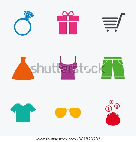 Clothes, accessories icons. T-shirt, sunglasses signs. Wedding dress and ring symbols. Flat colored graphic icons. - stock vector