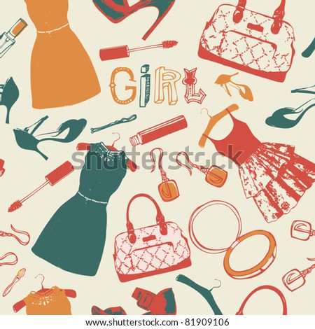clothes and accessories for girl background - stock vector