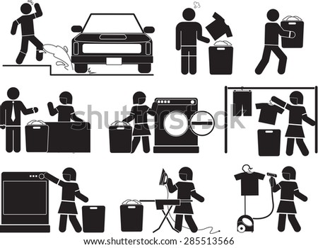 clothes and laundry icon set
