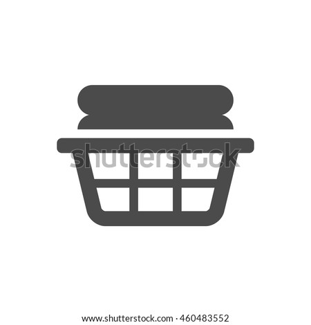 Clothes basket icon in black and white grey single color. Laundry household - stock vector