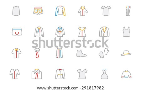 Clothes Colored Outline Vector Icons - stock vector