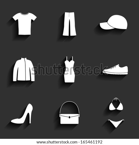 Clothes flat vector icons set - stock vector