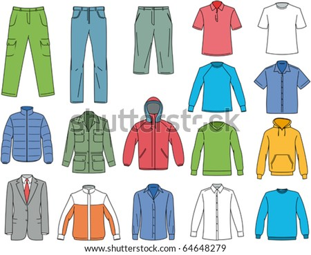 Clothes for men illustration. Vector clothing - stock vector