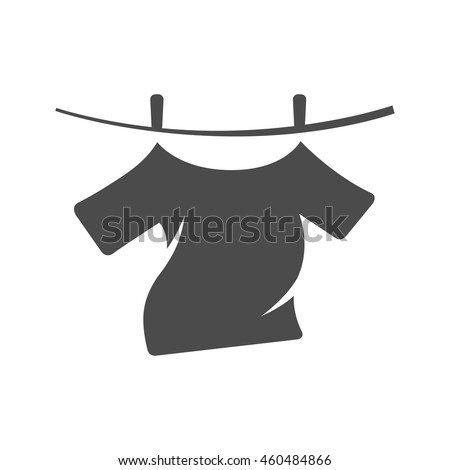 Clothes hang icon in single grey color. Laundry cleaning washing - stock vector