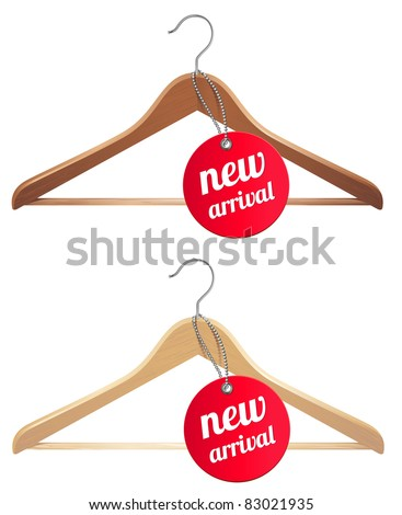 clothes hanger and new arrival tag - stock vector
