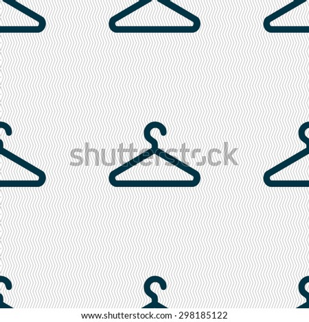 clothes hanger icon sign. Seamless pattern with geometric texture. Vector illustration - stock vector