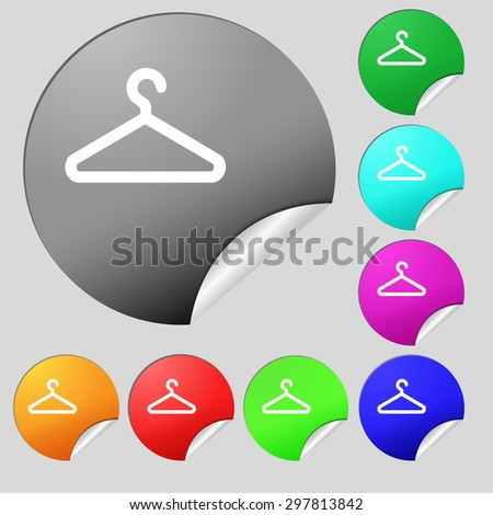 clothes hanger icon sign. Set of eight multi colored round buttons, stickers. Vector illustration - stock vector