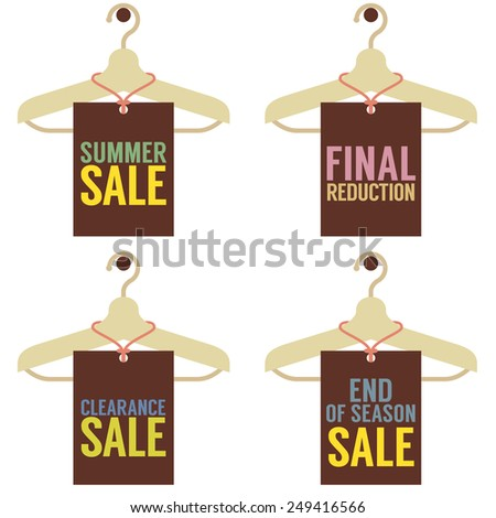 Clothes Hangers With Sale Tag Vector Illustration - stock vector