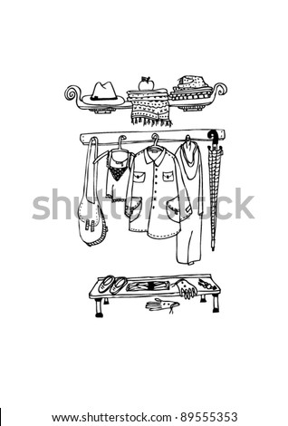 clothes hanging on a hanger - stock vector