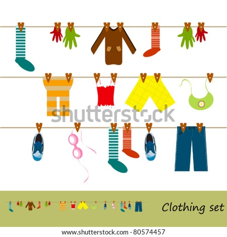 clothes hanging on a rope - jeans, shirt, vest and other - stock vector