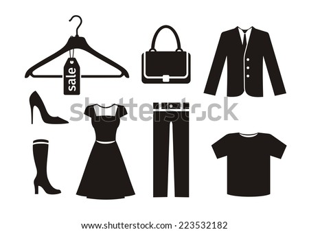 Clothes icon set in black color on white background. Trousers hanger bag jacket woman shoes dress T-shirt silhouettes - stock vector