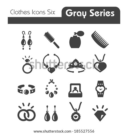 Clothes Icons Gray Series Six - stock vector
