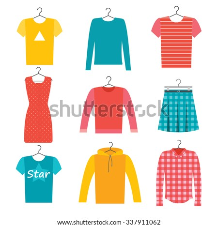 Clothes icons set with skirt, dress, shirt, t-shirt, vector illustration. Plaid and checked clothes;  man's and woman's clothing - stock vector