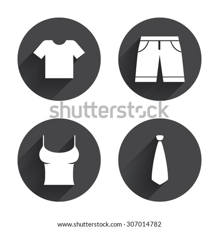 Clothes icons. T-shirt and bermuda shorts signs. Business tie symbol. Circles buttons with long flat shadow. Vector - stock vector