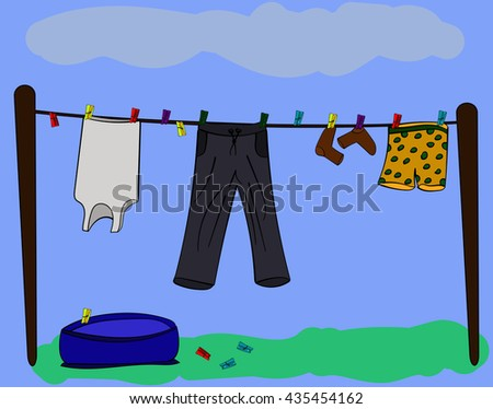 Clothes on a clothesline. Vector illustration. Sketch. Color doodle. - stock vector