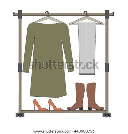 clothes racks with dresses on hangers flat style vector can be used - Clothes Racks