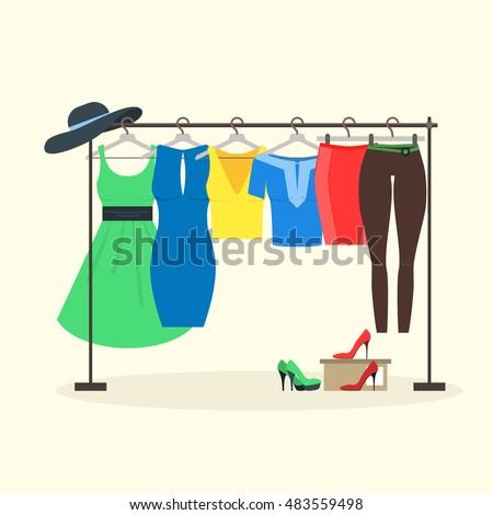 Clothes Racks Women Wear On Hangers Stock Vector 483559498