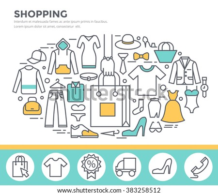 Clothes shopping concept illustration, thin line flat design - stock vector