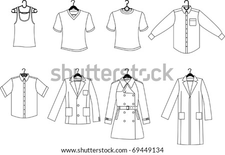 Clothes with clothes hangers - stock vector