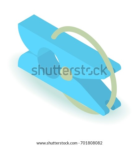 Clothespin icon. Isometric illustration of clothespin vector icon for web