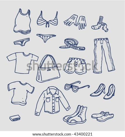 Clothing Doodles - Vector Illustrations - stock vector