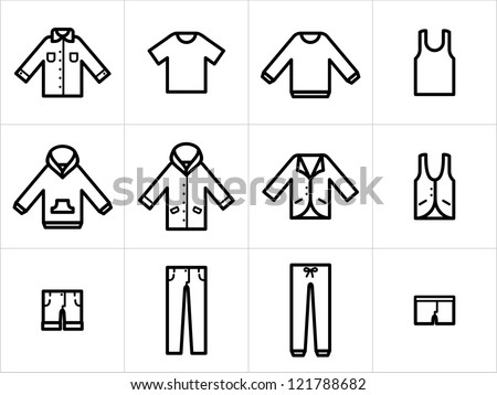 Clothing icons set 1. Set  of 12 men and unisex clothing icons in black and white. Easy to edit, resize and colorize. - stock vector