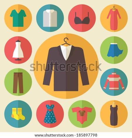 Clothing Icons Set Shopping Elements Flat Stock Vector