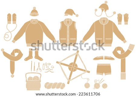 Clothing Knit. Tool of hand-knitted  - stock vector