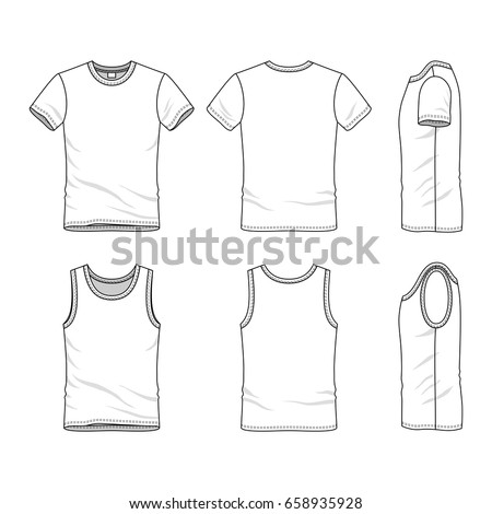Clothing Set. Blank Vector Templates Of White T Shirt And Vest. Fashion  Illustration
