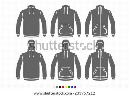 Clothing Silhouettes Fleece Collection Basic, Pockets, Zipper - stock vector