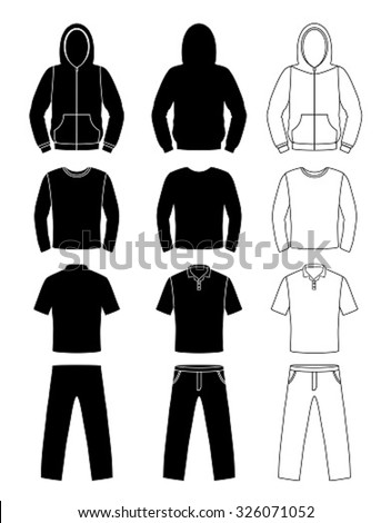 Clothing silhouettes, hoodie, t-shirt and Long sleeve, pants - stock vector