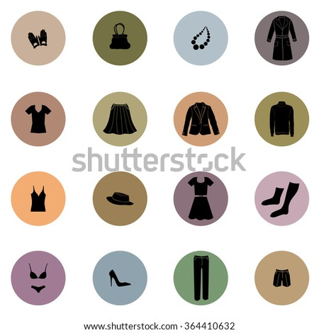 Cloths icon set. Fashion icons collection. Vector silhouette - stock vector
