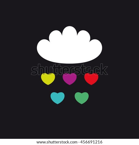 Cloud and color hearts vector illustration. Book or album cover. T-shirt print - stock vector
