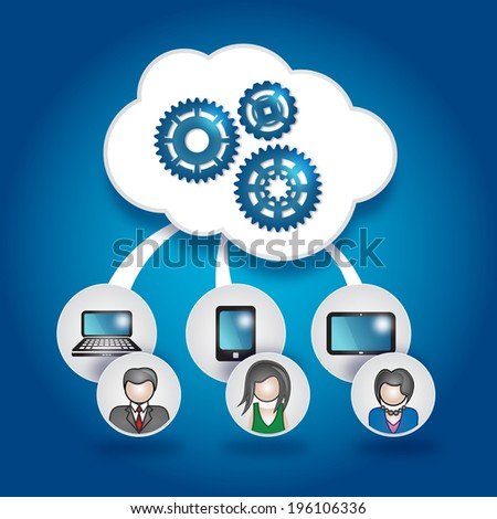 Cloud and Mobile - stock vector