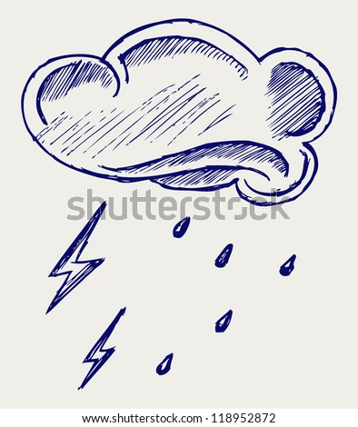 Cloud and rain. Doodle style - stock vector