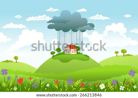 Cloud and rain over one house, while around good weather. Conceptual illustration - stock vector