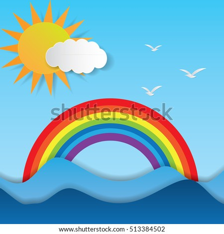 cloud and rainbow over the sea