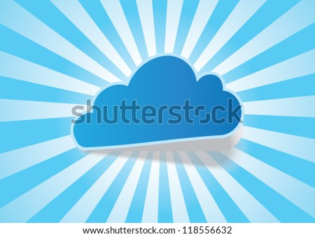 Cloud and Rays - Vector Background