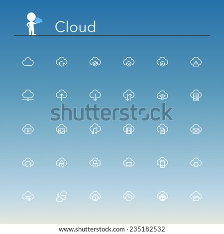 Cloud and Server line Icons set. Vector illustration. - stock vector