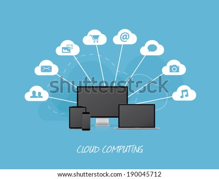 Cloud business icons with modern computers - stock vector