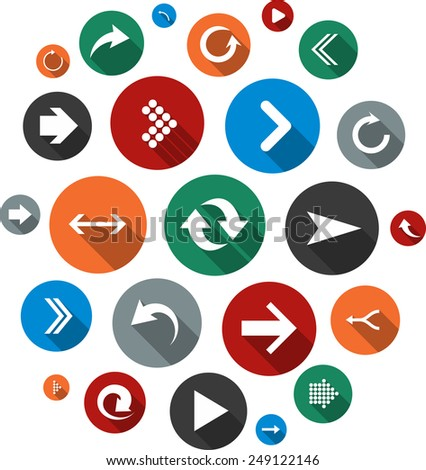 Cloud collection of round flat modern arrow icons. Vector illustration.   - stock vector