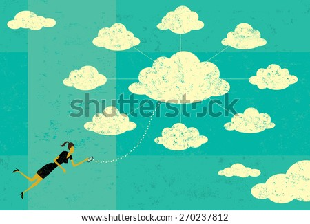 Cloud Computing A businesswoman connecting to cloud server with her mobile device.  - stock vector