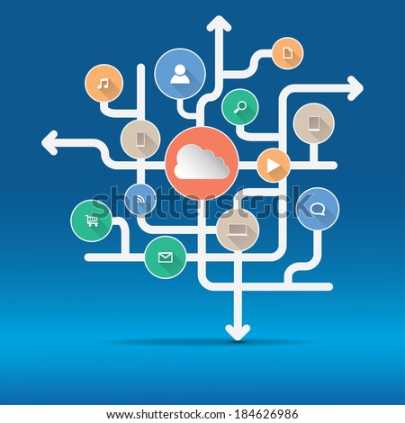 Cloud Computing and Applications concept. Vector illustration in EPS10. Included high resolution jpg file. - stock vector